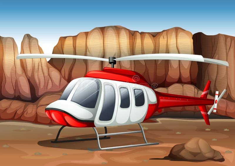 En helikopterlandning på jordningen stock illustrationer