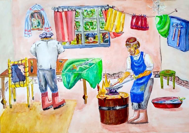 En herrero de la herrería y sus trabajos auxiliares con las herramientas El herrero martilla el yunque y hace una espada Un ayud stock de ilustración