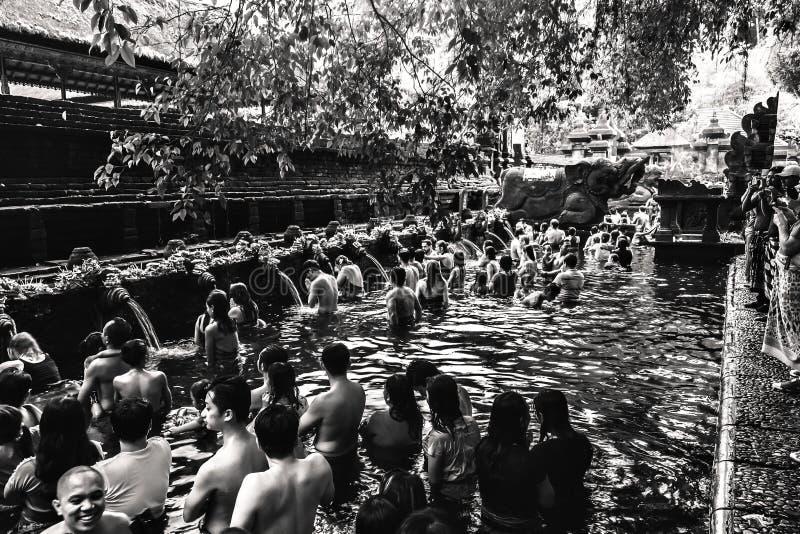 En hinduisk ceremoni i den Tirta Empul templet arkivfoton