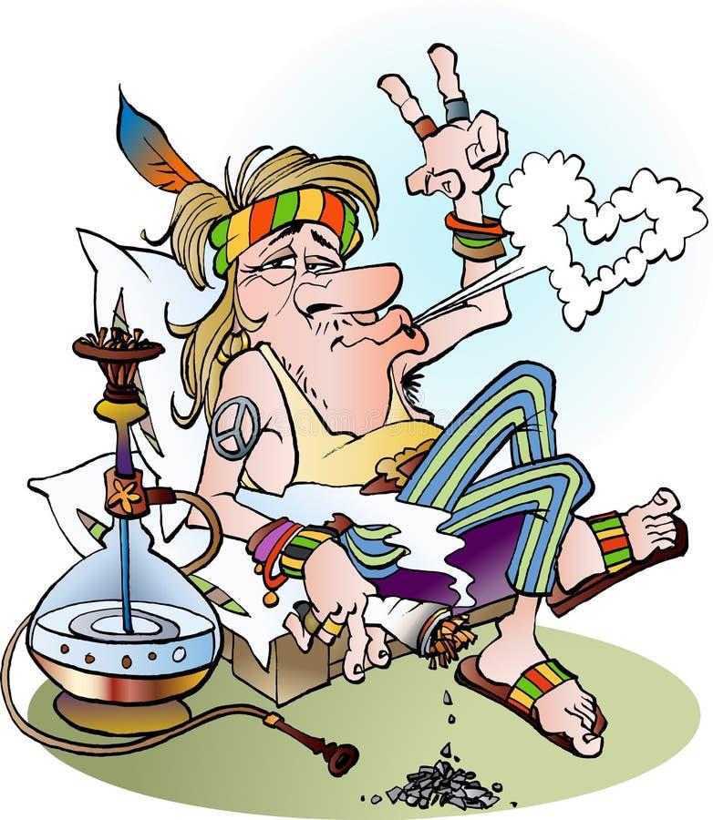 En hippie som röker en skarv royaltyfri illustrationer