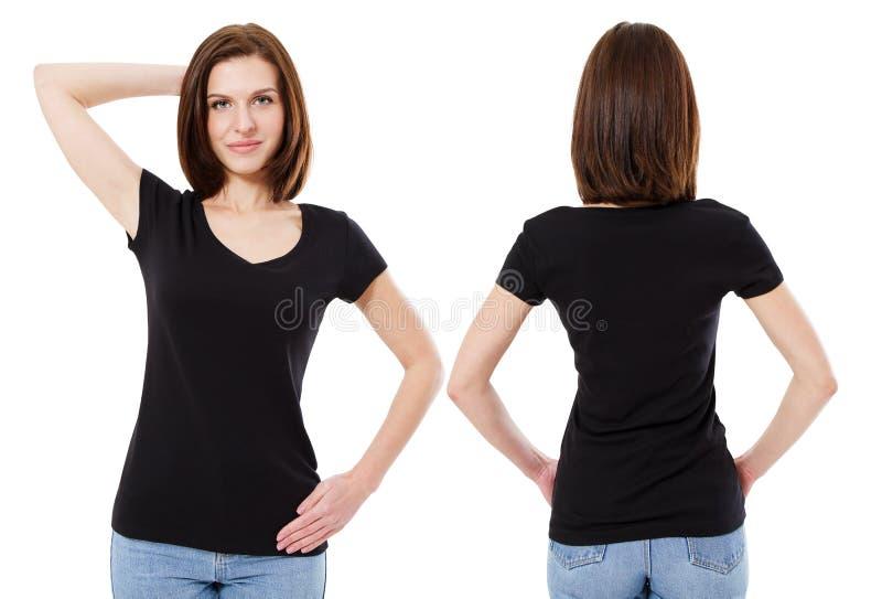 En hipsterflicka med svart hår som bär en tom svart t-skjorta Horisontalåtlöje upp Tomt utrymme för textnolla-design royaltyfri foto