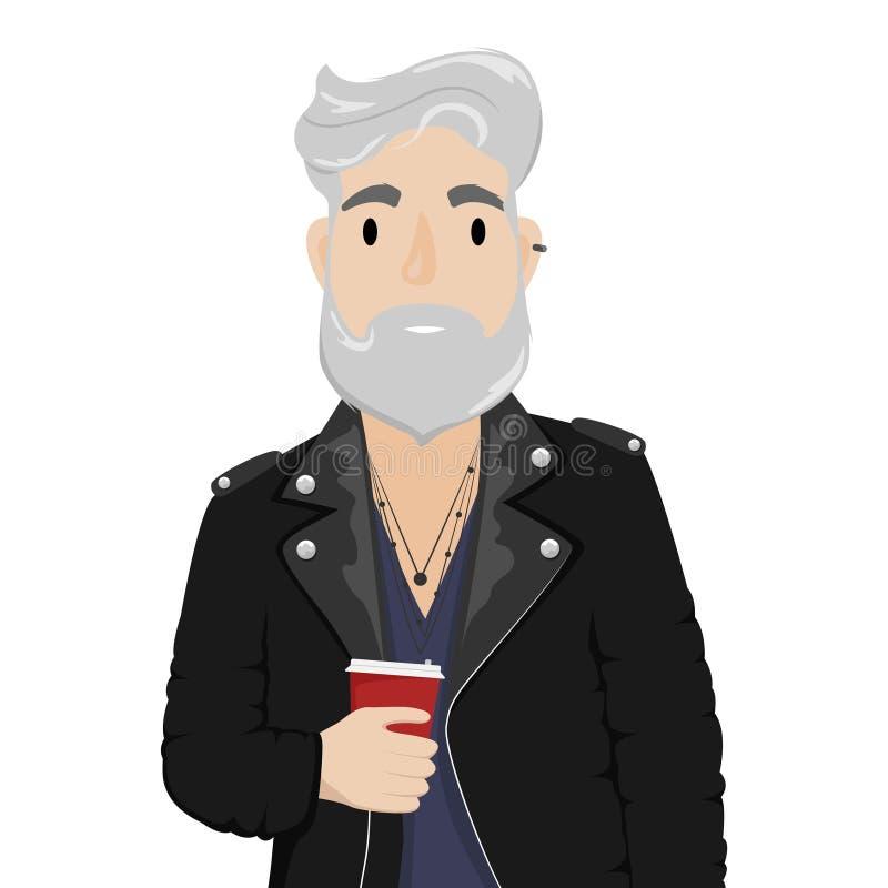 En hipsterman med grått hår och ett skägg i ett lädercyklistomslag med en kopp kaffe Subkultur mode vektor illustrationer