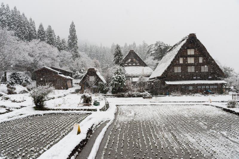 En hiver la neige est lourde aux maisons antiques de Shirakawa-vont village à Gifu, Japon photo libre de droits