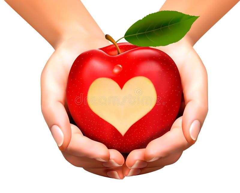 En hjärta sned in i ett äpple stock illustrationer