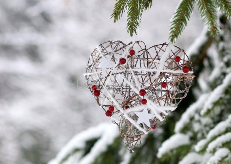 En hjärtadekor för vinter arkivfoton