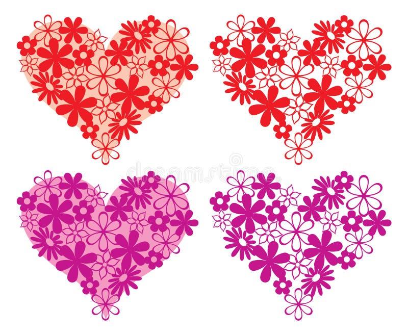 En hjärtaform av blommor vektor illustrationer