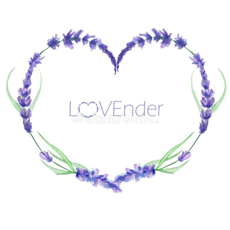 En hjärtaram, kransen, ramgräns med vattenfärglavendeln blommar och att gifta sig inbjudan royaltyfri illustrationer