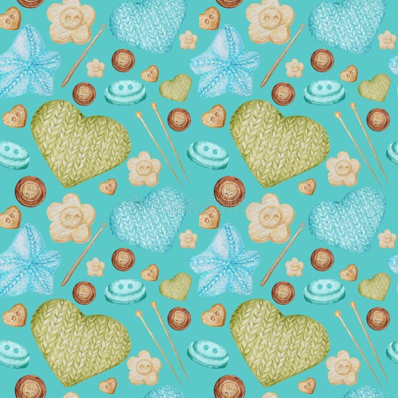 En Hobby die van het waterverf de Naadloze patroon breien haken Inzameling van hand getrokken lichtblauw, groen, beige, bruin stock afbeeldingen