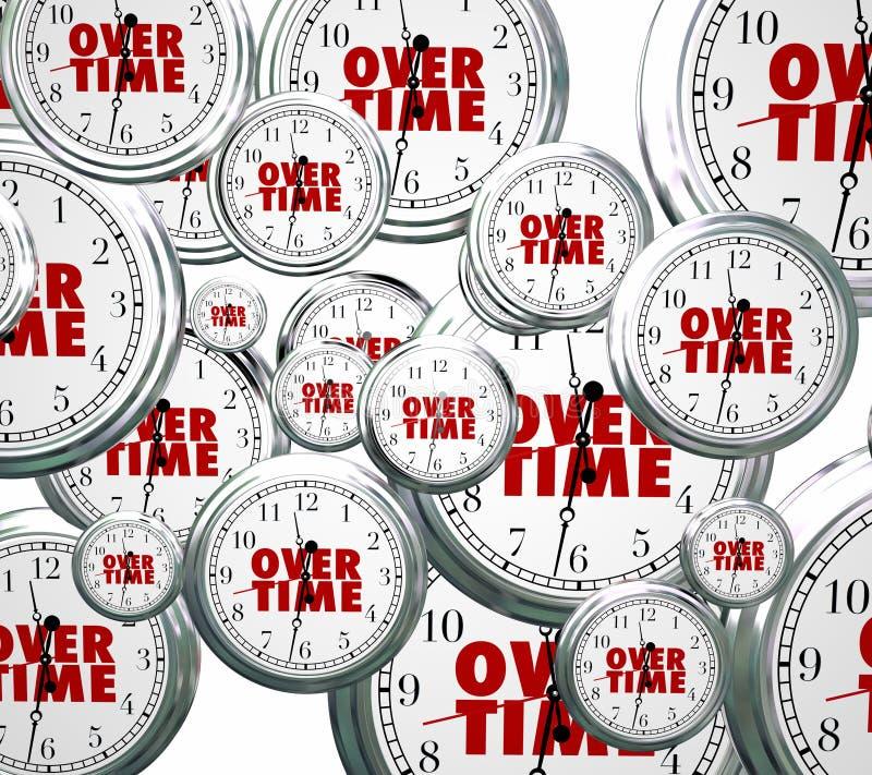 En horas extras relojes de palabras que vuelan por último trabajo añadido suplemento del trabajo ilustración del vector
