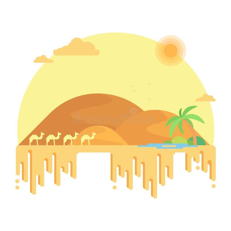 En husvagn av kamel går till en oas bland dyerna royaltyfri illustrationer