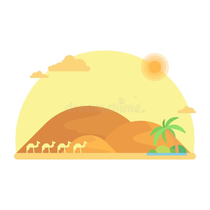 En husvagn av kamel går till en oas bland dyerna stock illustrationer