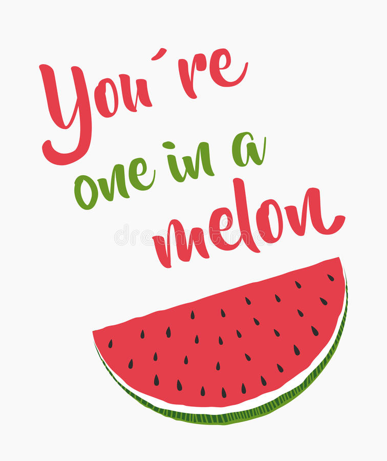 En i en melon stock illustrationer