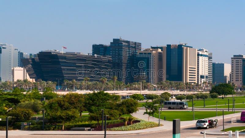 En i stadens centrum sikt av Doha, Doha, Qatar royaltyfri bild