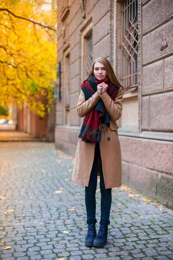 En iklädd flicka en varm sjal och en stor halsduk som står på en kall höstgata royaltyfri fotografi