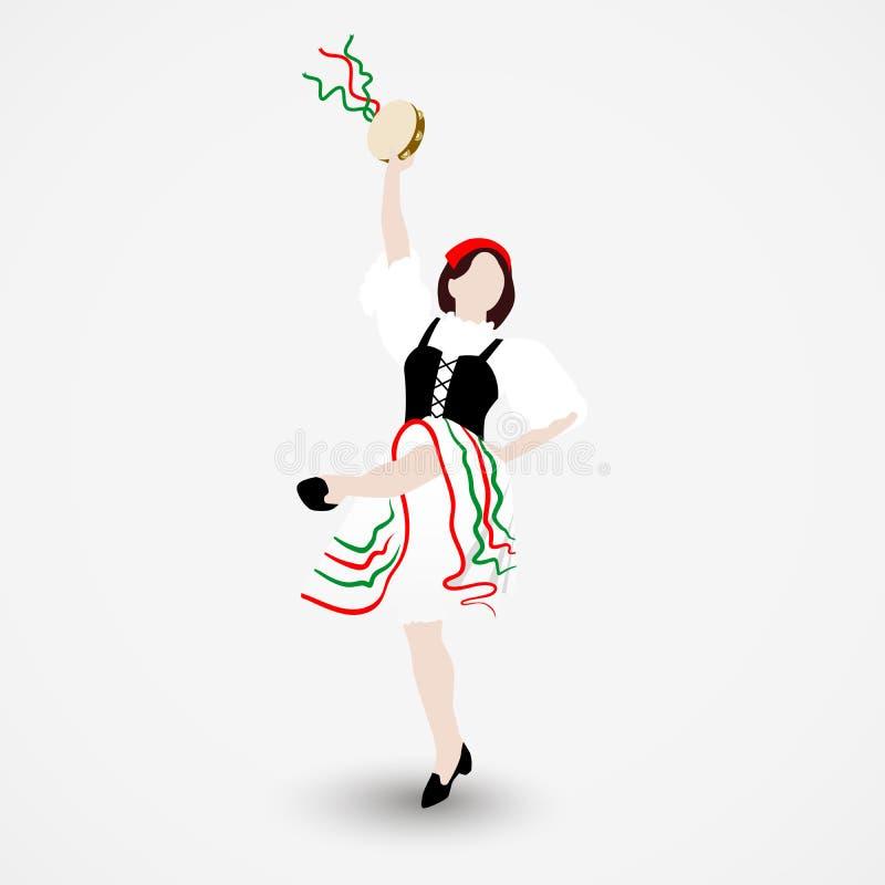 En iklädd ung flicka en nationell dräkt som dansar en italiensk tarantella med en tamburin som isoleras på vit bakgrund royaltyfri illustrationer