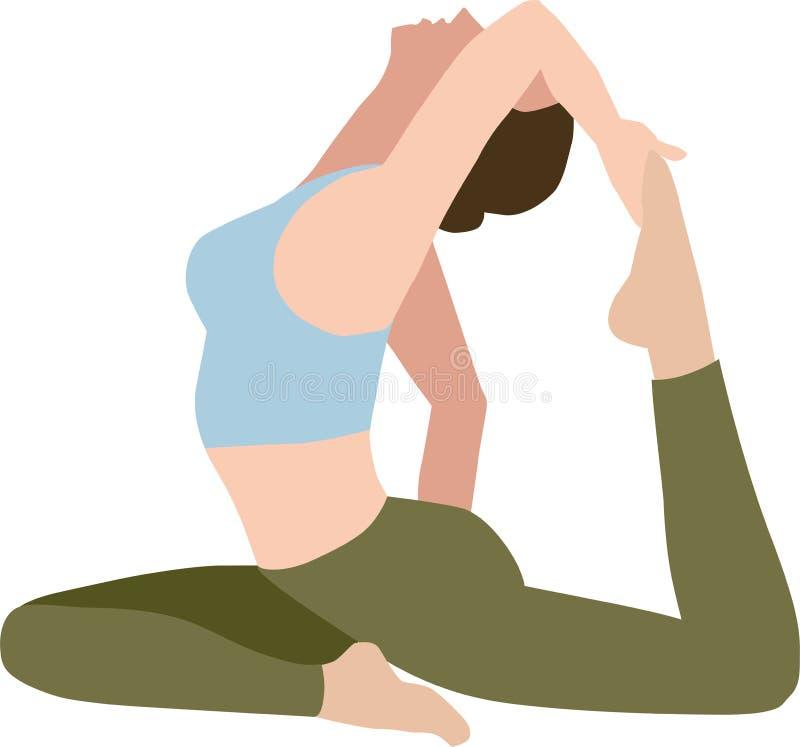 En illustration av en övande yoga för kvinna stock illustrationer