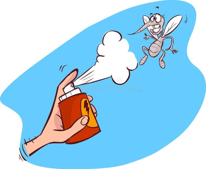 En illustration av en mygga får slagsprej vektor illustrationer