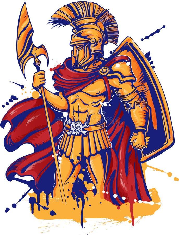 En illustration av ett krigaretecken stock illustrationer
