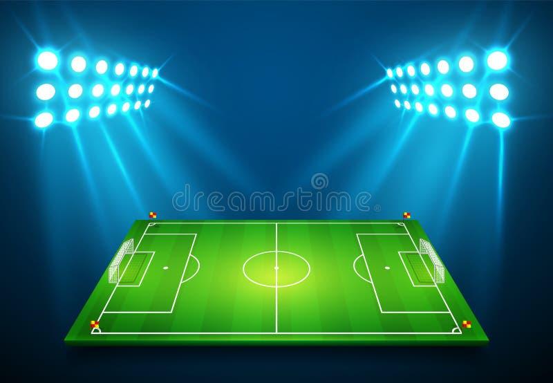En illustration av fotbollfotbollfältet med ljus stadion tänder att skina på den Vektor EPS 10 Rum för kopierar royaltyfri illustrationer