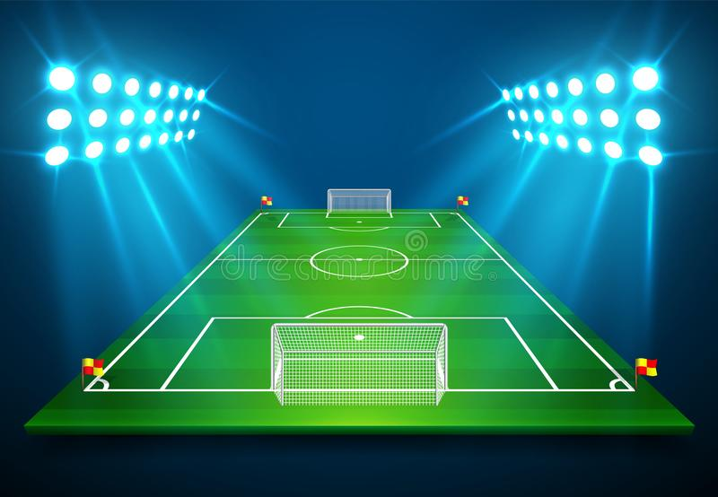 En illustration av fotbollfotbollfältet med ljus stadion tänder att skina på den Vektor EPS 10 Rum för kopierar stock illustrationer