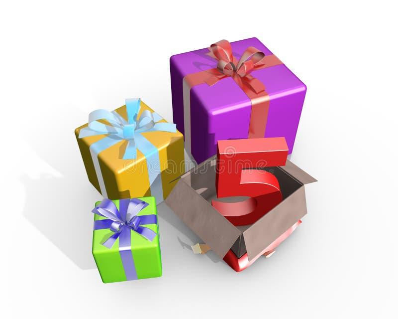 En illustration av gåvor för den femte födelsedagen stock illustrationer