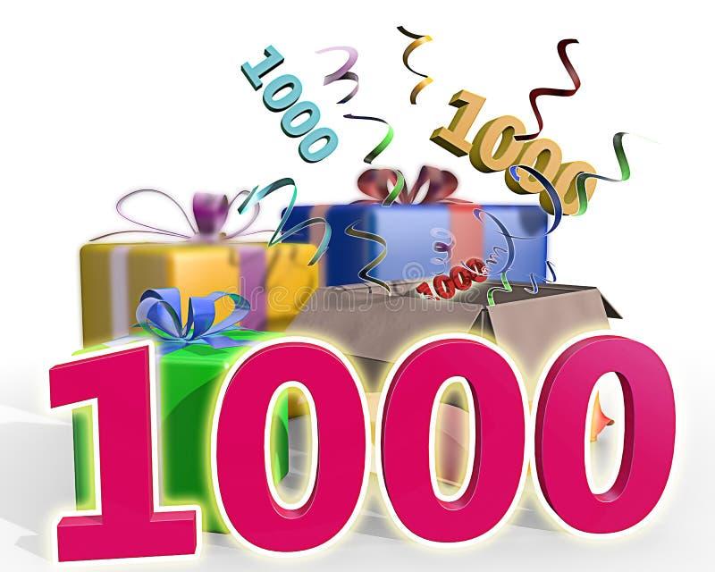 En illustration av gåvor med ett rosa nummer 1000 stock illustrationer