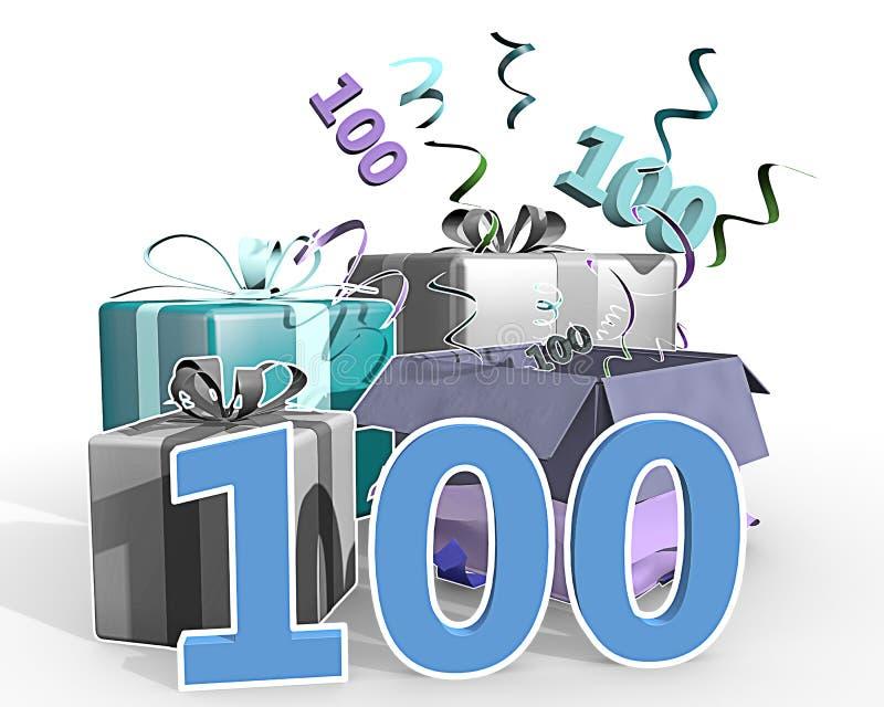 En illustration av gåvor med nummer 100 royaltyfri illustrationer