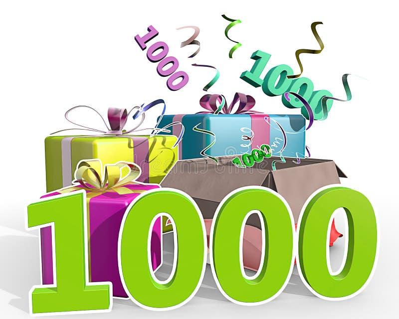 En illustration av gåvor med numret 1000 stock illustrationer