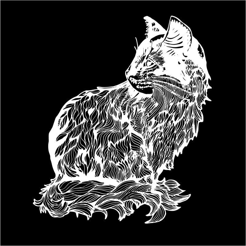 En illustration av en katt i profil Svartvit teckning av en katt Krita p? en blackboard stock illustrationer