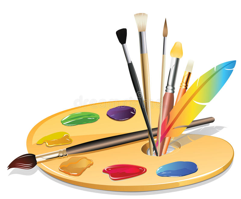 Paintbrush och palett stock illustrationer