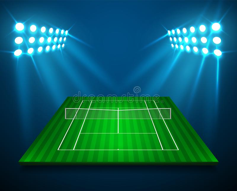 En illustration av perspektivTENNISfältet, cort med ljusa stadionljus planlägger Vektor EPS 10 Rum för kopierar vektor illustrationer