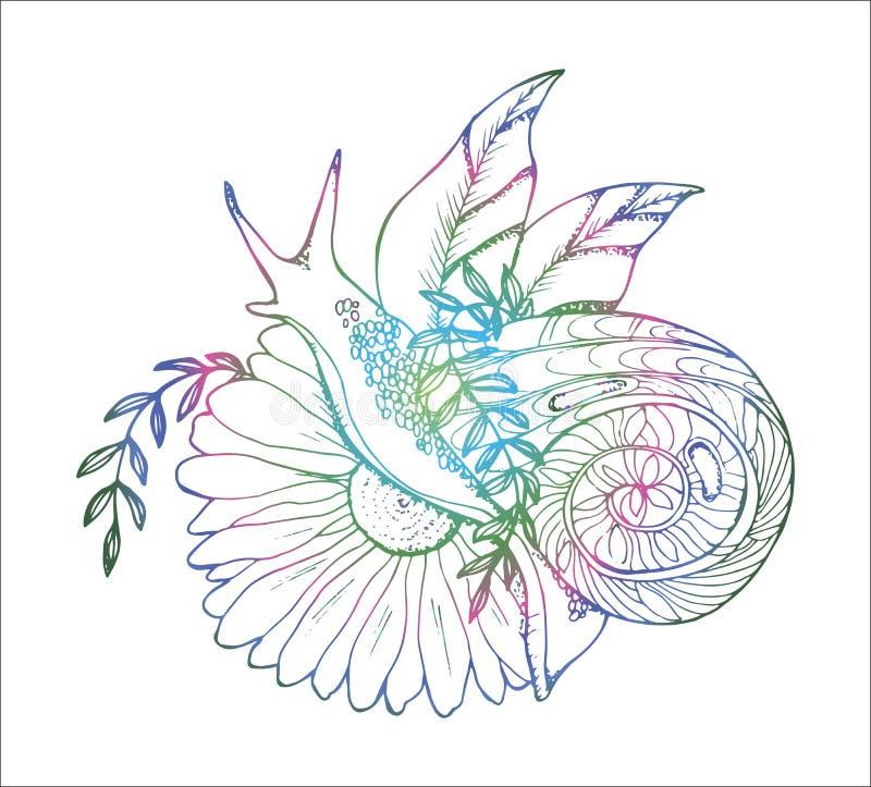 En illustration av en snigel som kryper till och med en blomma r vektor illustrationer