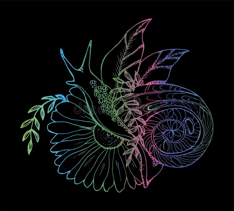 En illustration av en snigel som kryper till och med en blomma r tatueringidé royaltyfri illustrationer