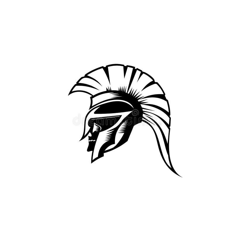 En illustration av spartansk roman grekisk helmat royaltyfri illustrationer