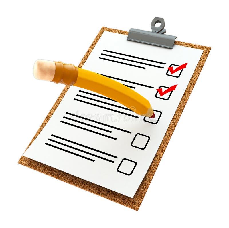 En illustration 3d av ett kontrollistapapper på ett kontrollbräde med den gula blyertspennan royaltyfri foto