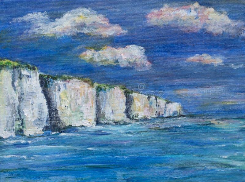 En illustration, måla av kritaklippor, hav och himmel arkivfoton
