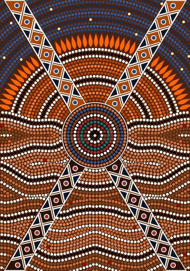 En illustration som baseras på aboriginal, utformar av pricker målningdepicti royaltyfri illustrationer