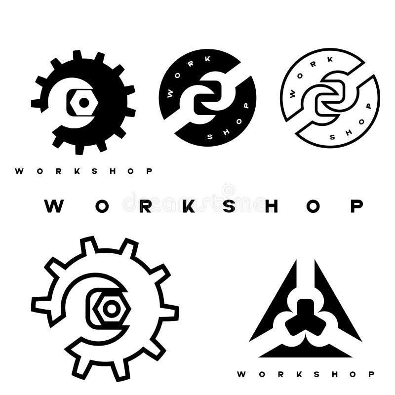 En illustration som består av flera bilder av en skiftnyckel, ett drev och en mutter vektor illustrationer