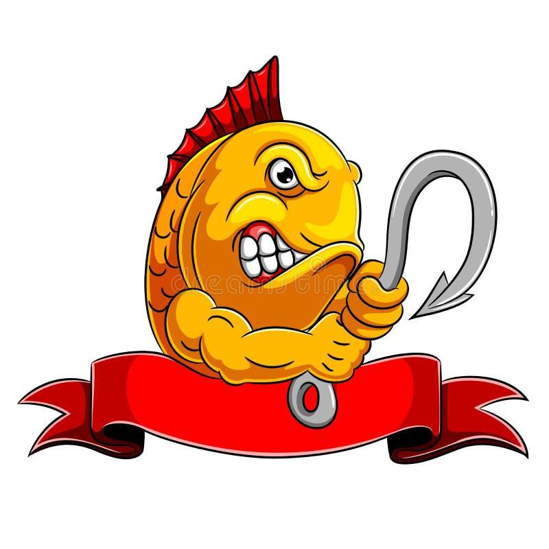 En ilsken krok för fiskinnehavfisk royaltyfri illustrationer