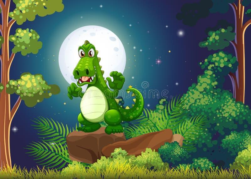En ilsken krokodil ovanför vagga på skogen vektor illustrationer