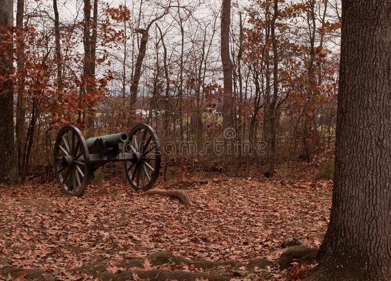 En inbördeskrigkanon från Gettysburg, Pennsylvania royaltyfria bilder
