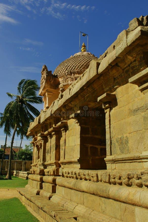 En inre sikt i den forntida Brihadisvara templet i gangaikondacholapuramen, Indien arkivbild