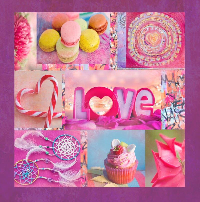 En intressant färgrik collage med blommor, makaroni, muffin, hjärta formade klubbor Du kan använda det för utskrift på en räkning arkivbild