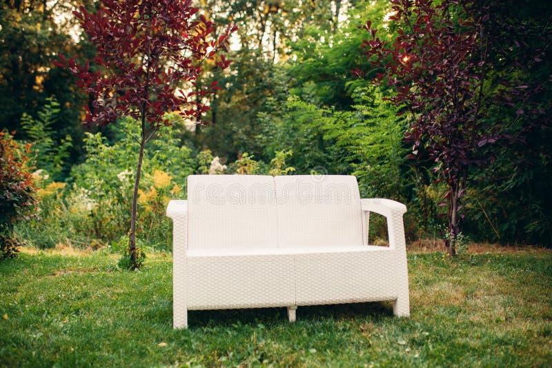 En inviterande trädgårds- soffa med gräsplan mönstrade kuddar under ett gult blomningträd arkivfoton