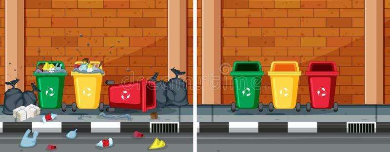 En jämförelse av rengöringen och den smutsiga gatan royaltyfri illustrationer