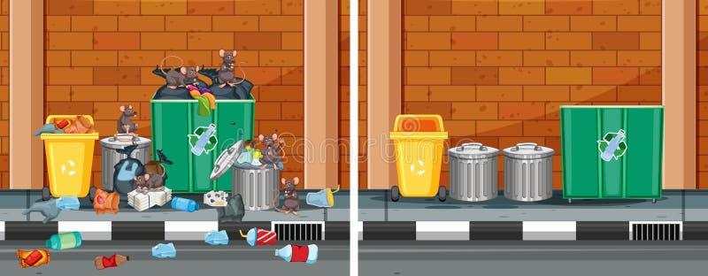 En jämförelse av rengöringen och den smutsiga gatan stock illustrationer