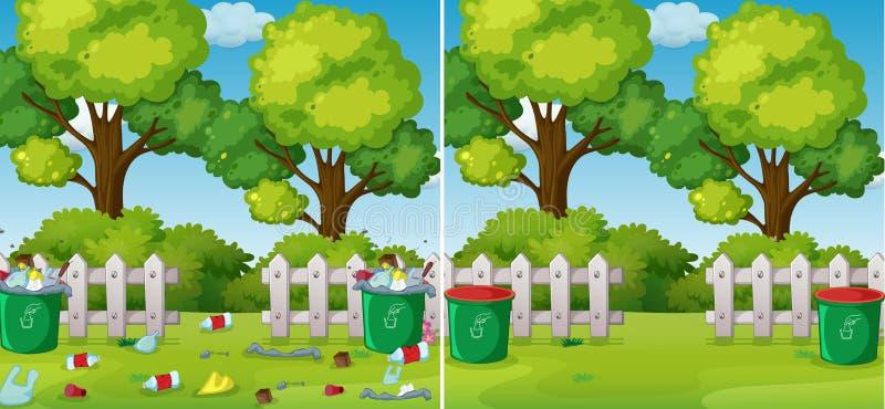 En jämförelse av rengöringen och ett smutsigt parkerar vektor illustrationer
