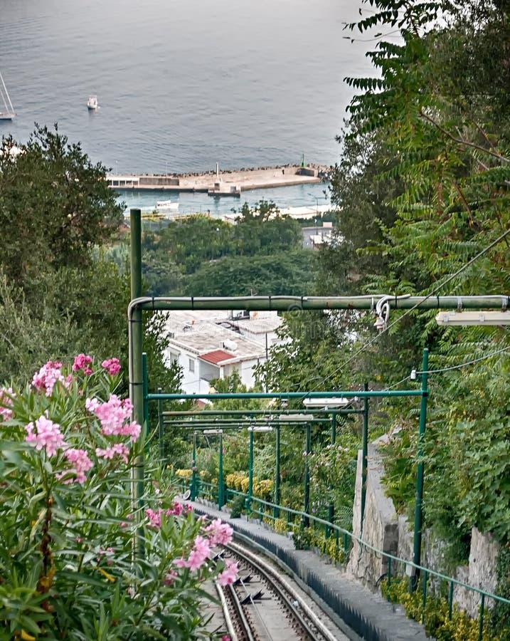 En järnväg linje i Sorrento, Italien royaltyfri foto