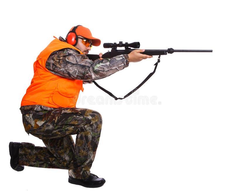 En jager die knielt streeft royalty-vrije stock foto's