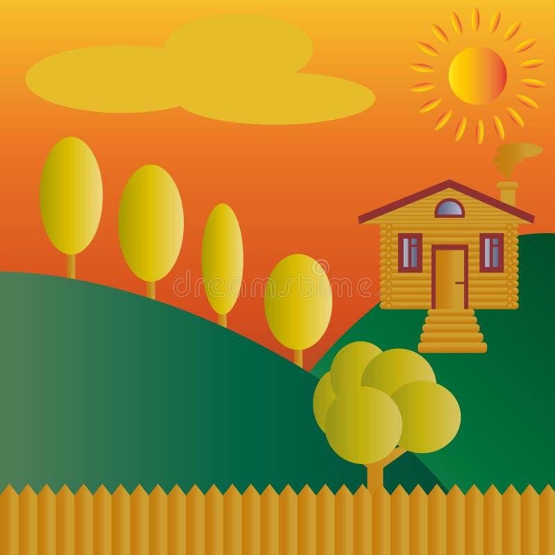 En journal, ett trä- lantligt hus med en farstubro på en kulle i guling, solen, moln, ett skarpt staket och orange träd Hösten la royaltyfri illustrationer